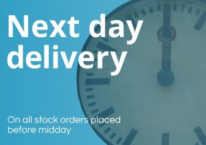 Next day delivery on all stock orders placed before 12 midday